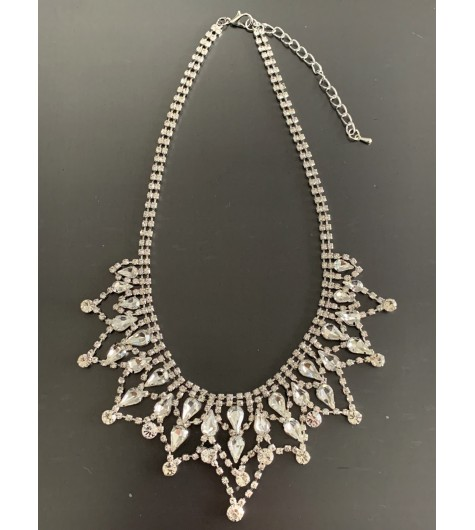Collier - Tout strass ronds/gouttes