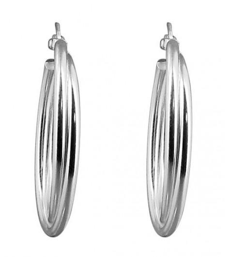 BO créoles Argent - Double anneau 30mm
