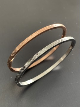 Stainless Steel Bracelet - Thin bangle cheselled style.