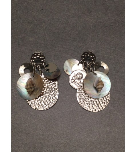 Earrings - Various discs charms with shell and angel decoration.