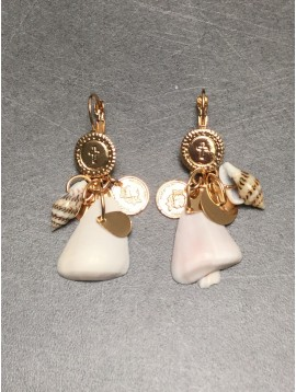 Earrings - Coin style disc charm with shells.
