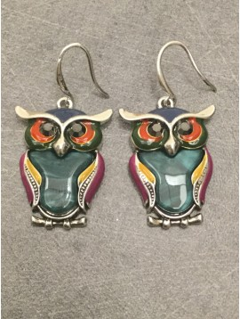 Earrings - Owl resin charm with rhinestones.