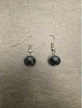 Earrings - Plain color faceted bead charm.