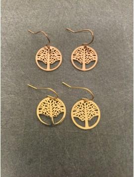 Earrings - Openwork tree of life charm.