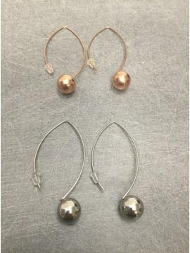 Stainless Steel Earrings - Plain color sphere charm set on shaft.