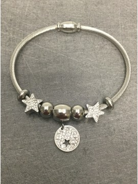 Stainless Steel Bracelet - Closed bangle with rhinestones stars charms and beads.