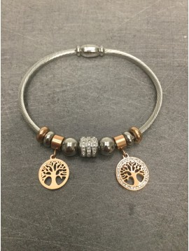 Stainless Steel Bracelet - Closed bangle with tree of life rhinestones charm and various beads.