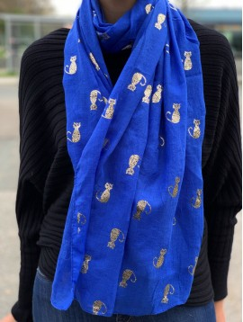 Scarf - Plain color with shiny cats pattern.