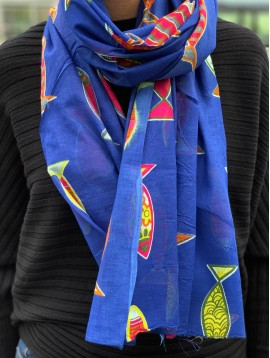 Scarf - Coloured fish pattern.