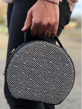 Handbag -Round model with straw style sides.