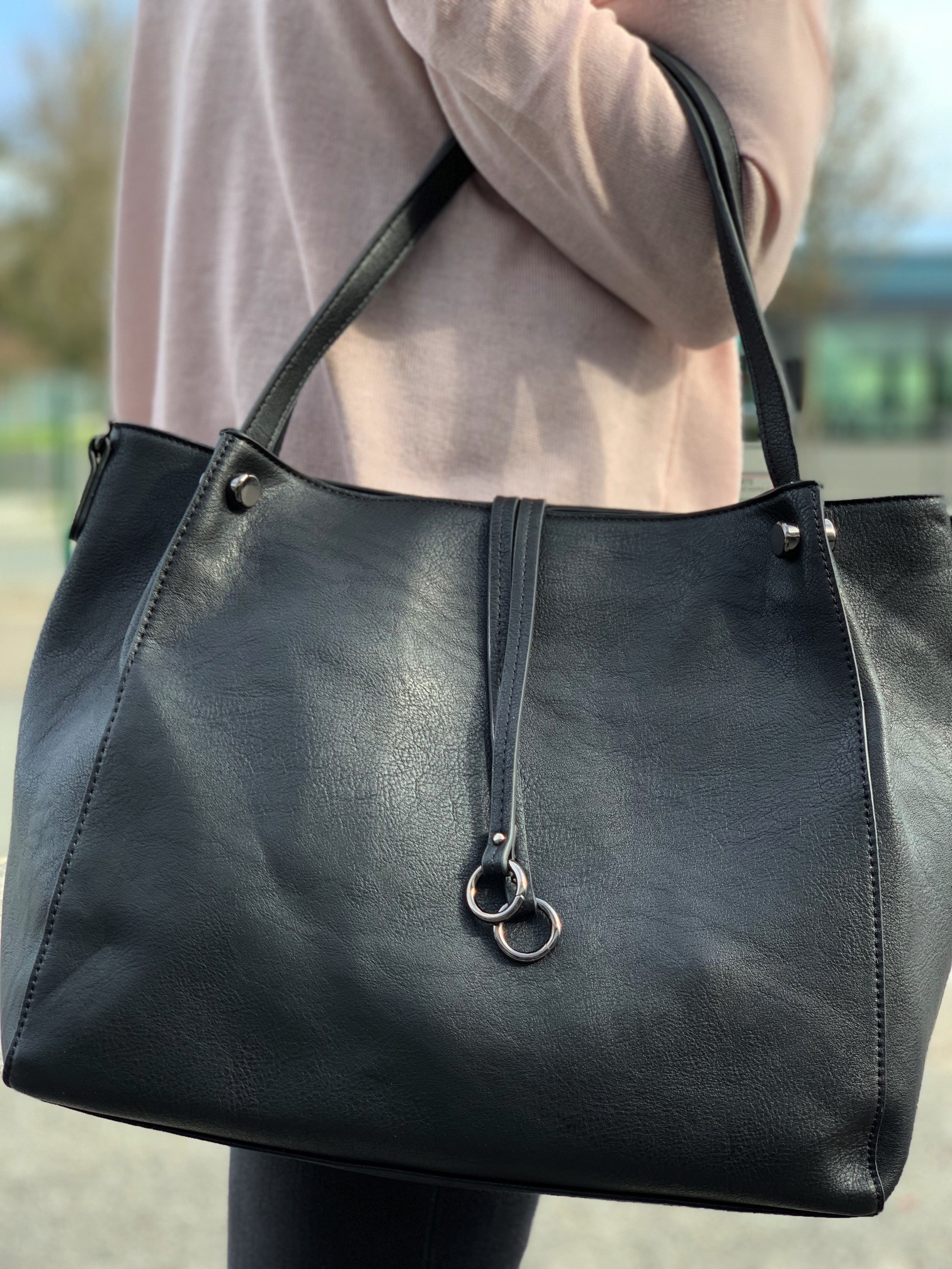 b1f33deead5b Shoulder bag - Large size plain color leather look with two straps and ...