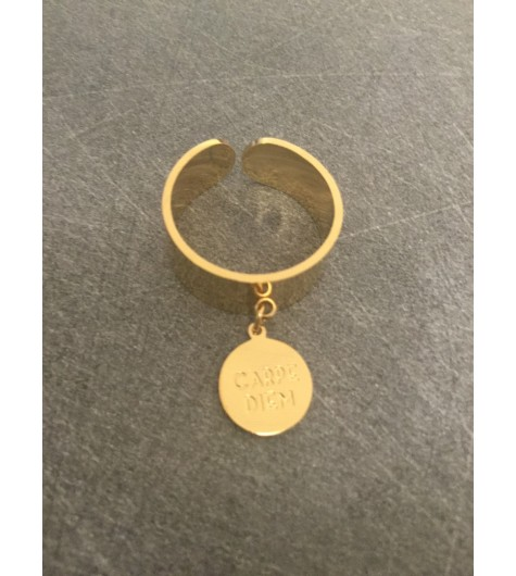 """Stainless Steel Ring - Wide model with """"CARPE DIEM"""" engraved disc charm."""