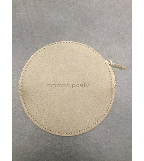 """Coin purse - Round model with """"maman poule"""" phrase."""