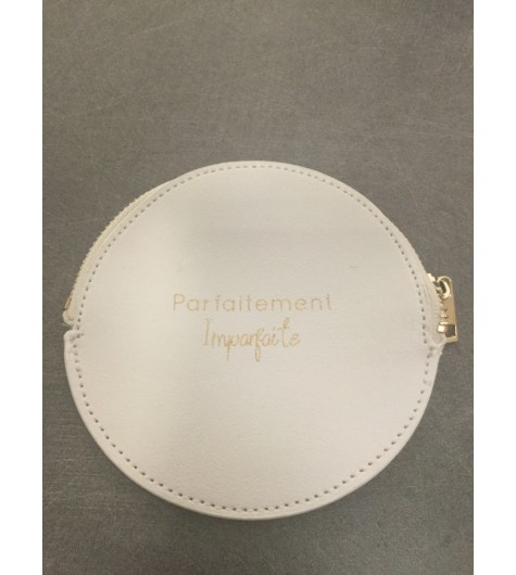 "Coin purse - Round model with ""Parfaitement Imparfaite"" phrase."