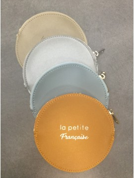 "Coin purse - Round model with ""la petite Française"" phrase."