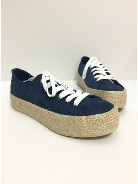 Sneakers - Shiny suede look with espadrille style soles.