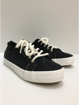 Sneakers - Plain color vintage fabric style with rope style laces.