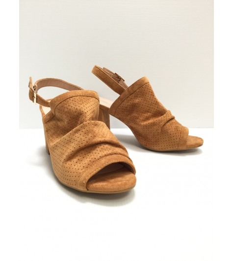 Sandals - Plain color perforated suede style with high heels.