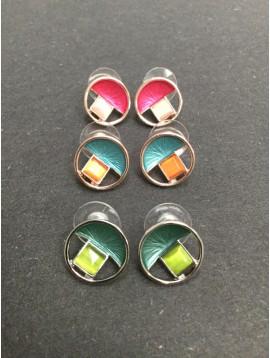 Boucles d'oreilles - Cercle avec carré résine et demi disque peint.