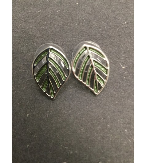 Earrings - Painted open work leaf charm.