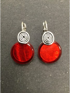 Earrings - Resin disc charm with metallic spiral.
