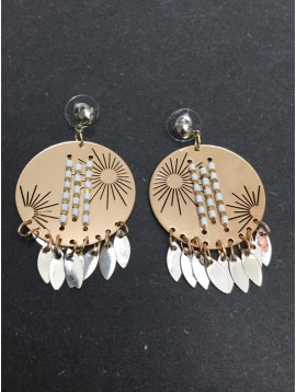 Earrings - Metallic disc charm with beads and drops.