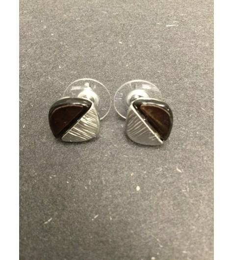 Earrings - Half resin half metal square charm.