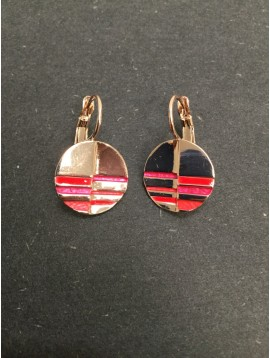 Earrings - Circle charm with coloured strips.