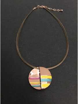 Necklace - Circle charm with coloured strips.