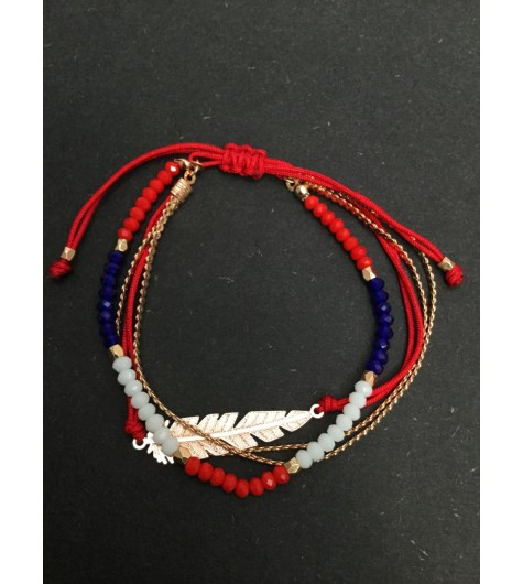 Bracelet - Sliding style multi row with metallic leaf charm.
