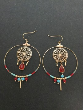 Earrings - Hoop charm with gemstone drop and various charms.