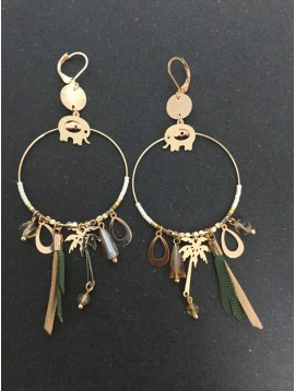 Earrings - Hoop ring with various charms.