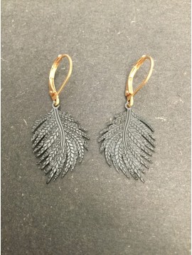 Earrings - Matte feather charm.