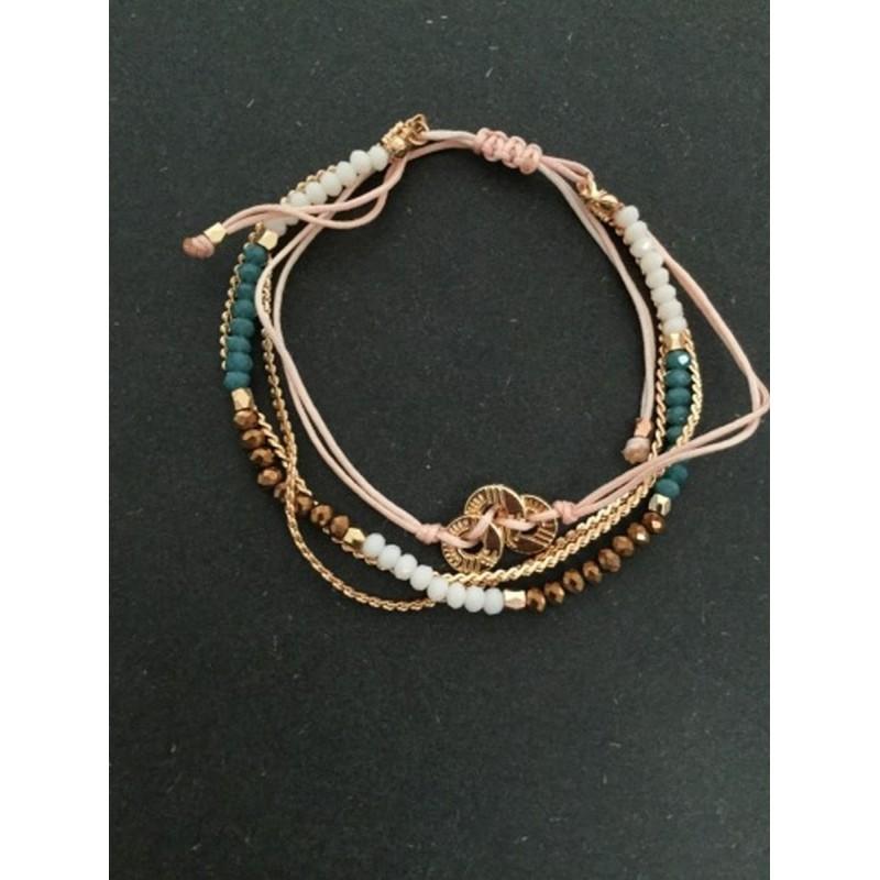 2019 meilleures ventes lacer dans style classique de 2019 Bracelet - Coulissant multirangs avec anneaux métalliques.