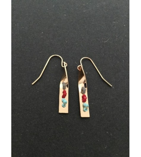 Earrings - Twisted rod charm with coloured beads.
