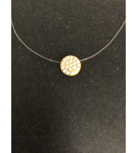Stainless Steel Necklace - Small rhinestones disc charm.