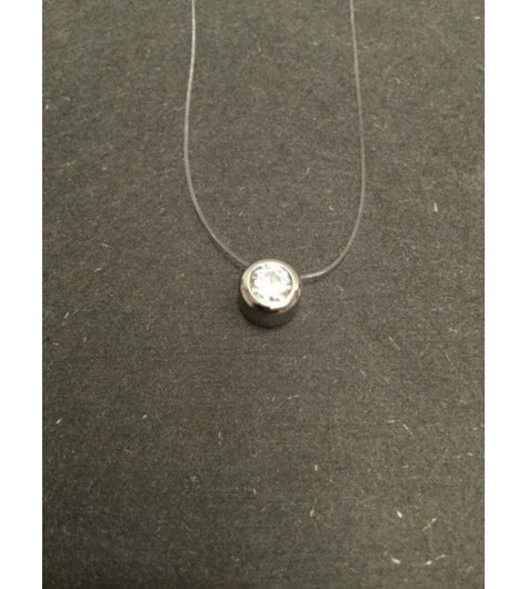 Stainless Steel Necklace - Mounted gemstone charm.
