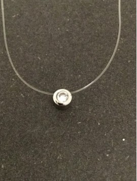 Stainless Steel Necklace - Small mounted gemstone charm.