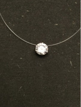 Stainless Steel Necklace - Smple rhinestone charm.