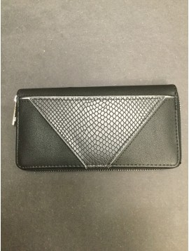 Wallet - Plain color with reptile look triangle piece.