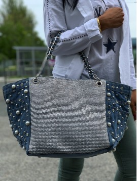 Shoulder bag - Jean fabric with rhinestones, beads and frontal shiny piece.