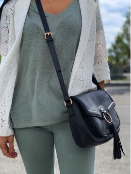 Cross body bag - Palin color with ring flap and pom pom.