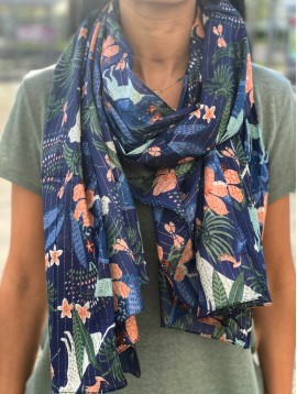 Scarf - Big cats, various plants and dragonfly motif with lurex.