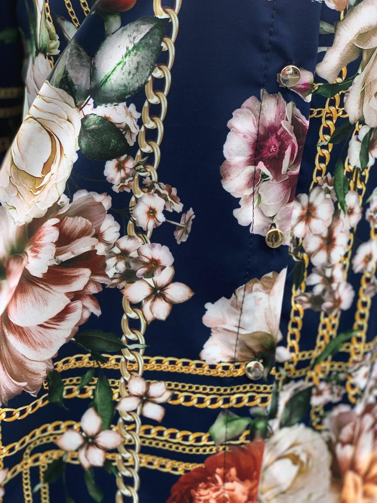 Tunique chemise imprimé fleurs et chaines