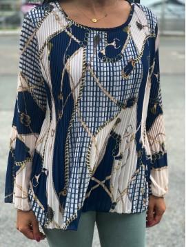 Tunique plissée motif harnais et mors avec débardeur