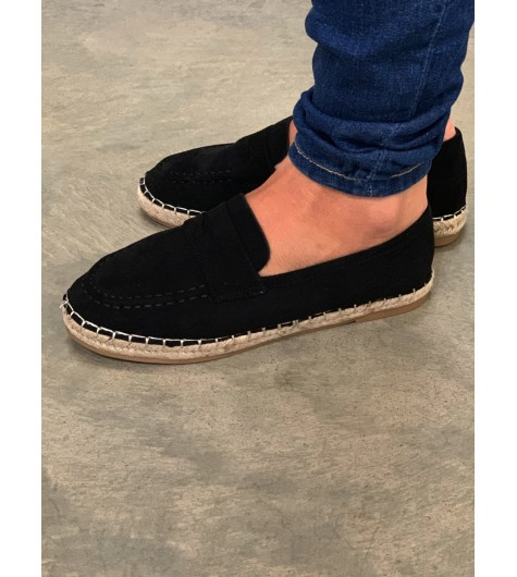 Mocassins - Plain color suede look with espadrille style sole.