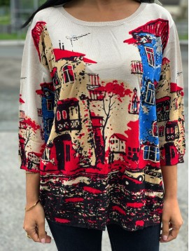 Pull manches 3/4 motif village