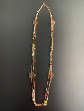 Long Necklace - Multi rows with filigree disc charms and various coloured beads.