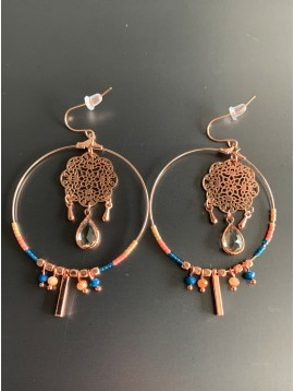 Earrings - Hoops with filigree rose charm and gemstone.