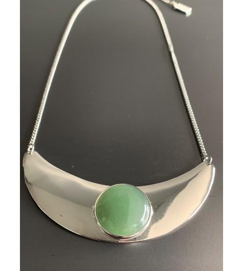 Collier Long - Anneau avec perles couleurs et plume métal